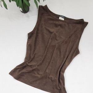 Brown Suede Like Textured Tank Top by Eyeshadow